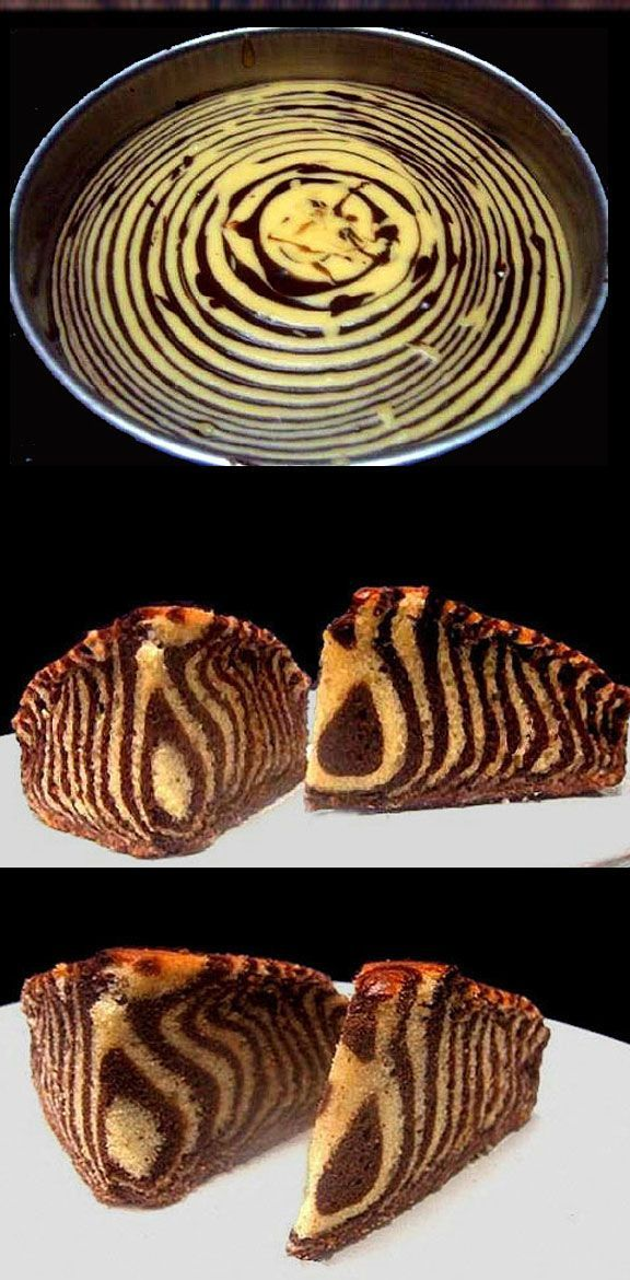 Learn how to make this moist, delicious Greek Yogurt Zebra Cake! #recipe
