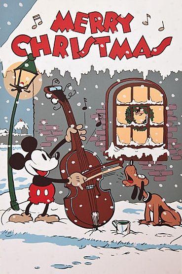 Mickey's singing Christmas Carols.