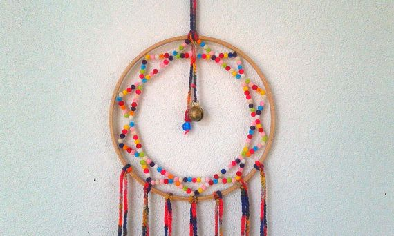 Velvet beads dream catcher. Mixed color gypsy dream by fundart