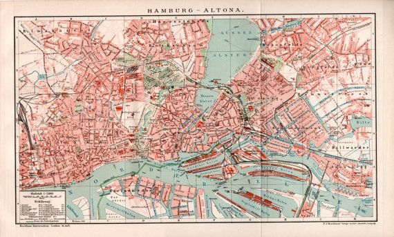 1898 Hamburg Altona Map St Pauli Hamburg Hafen City by Craftissimo
