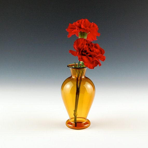 Yellow Vase Hand Blown Glass by kivaford on Etsy