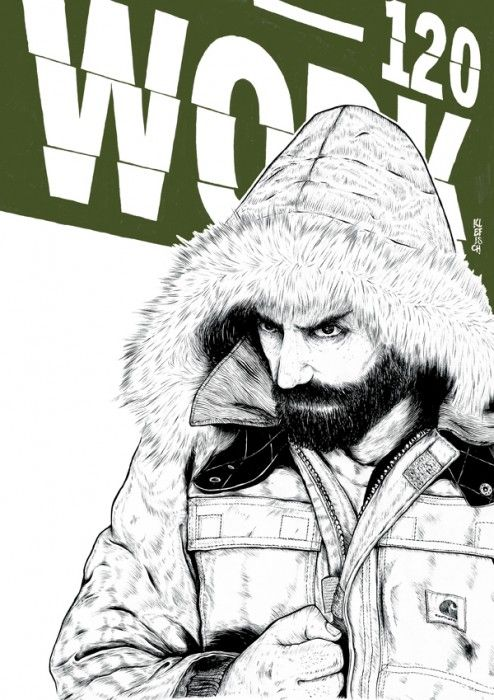 Amazing monochromatic illustrations for Carhartt Fall/Winter 2009 campaign by Marco Klefisch