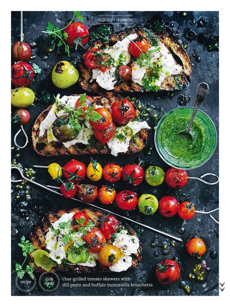 Tomato dill pesto mozzarella bruschetta - Donna Hay Magazine Summer 2016