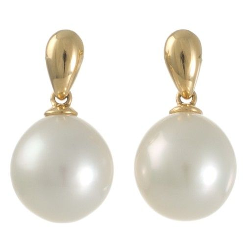 Simple and elegant White South Sea pearl and yellow gold earrings. View our collection of pearl jewellery at www.rutherford.com.au