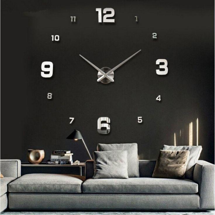 Nieuwe DIY 3d Woondecoratie Wandklok Grote Spiegel Wandklok Modern Design, Grote Maat Wandklokken. DIY Muursticker Unieke Gift