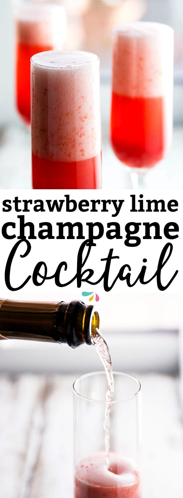 This 3 Ingredient Strawberry Lime Champagne Cocktail is the perfect drink for any festive occasion! Be it Christmas, New Year's Eve, Valentine's Day, Easter or even brunch on Mother's Day - this is quick and easy to make and tastes amazing! | #recipe #drink #newyearseve #newyear #champagne #cocktail