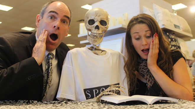 """""""Spooky Sudbury"""" co-authors Mark Leslie and Jenny Jelen pose for a photo at a book-signing event at Chapters on Sept. 28. They are joined by..."""