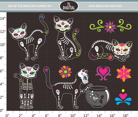 Day of the Dead Cats Clipart Set  Sugar Skull Cats  High