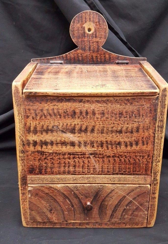 Early 1800's Original Salt Box With Corn Cob Finish #Americana