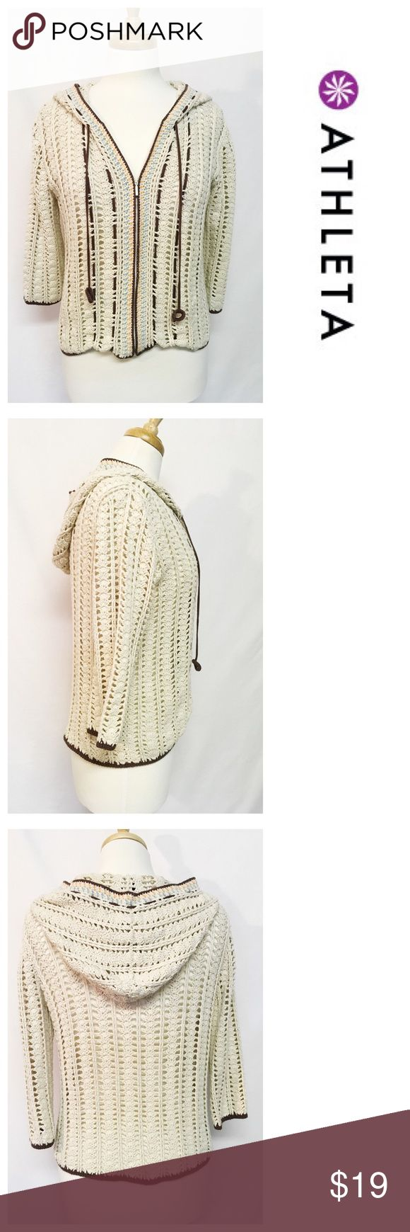 Crochet Beige Zip Up Cardigan by Athleta ~~ Zip up Beige Crochet Cardigan w/ hood by Athleta ~~ Size S ~~ Bust 38 ~~ Waist 36 ~~ Length 20 ~~ 100% cotton ~~ Brown/orange/light blue detail ~~ 3/4 sleeve ~~ Very good condition, no flaws ~~ All clothing comes freshly laundered, hand washed or dry cleaned unless NWT ~~ NO TRADES PLEASE 💕 Athleta Sweaters Cardigans
