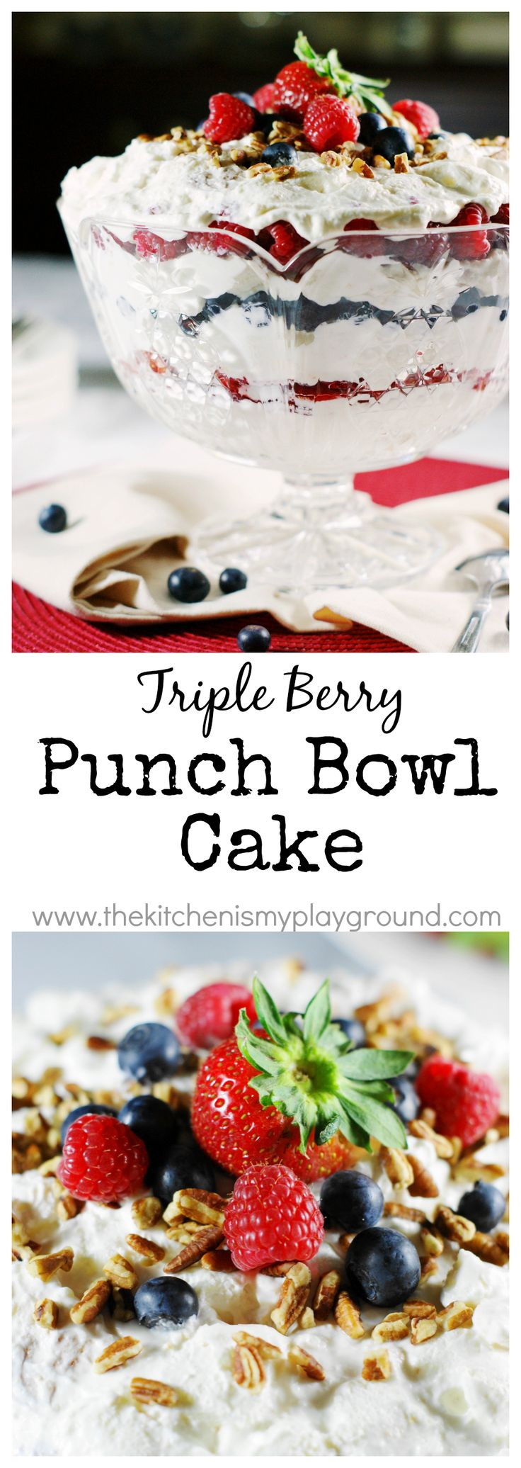 Amazingly delicious {and pretty} Triple Berry Punch Bowl Cake, all decked out in red, white, and blue!   www.thekitchenismyplayground.com