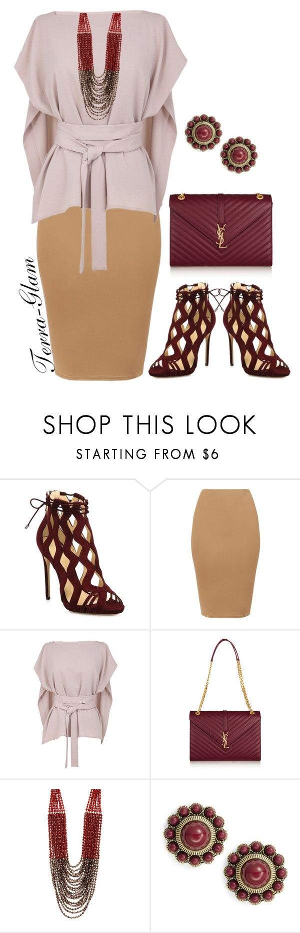 """Wine Is Wonderful"" by terra-glam ❤ liked on Polyvore featuring Alexandre Birman, TIBI, Yves Saint Laurent, NAKAMOL and Robert Rose"