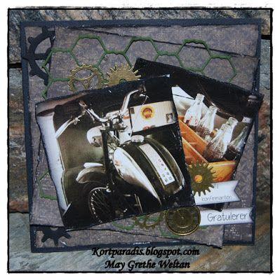 Scrappe NorthStarStamps NorthStarDesign Kort Card Konfirmasjonkort Korthobby Metall Charms Gear Gears Tannhjul Konfirmasjon Klippeark Moped  Mopedkort Mototsykkel Motorsykkelkort Gutt Tannhjul Kort