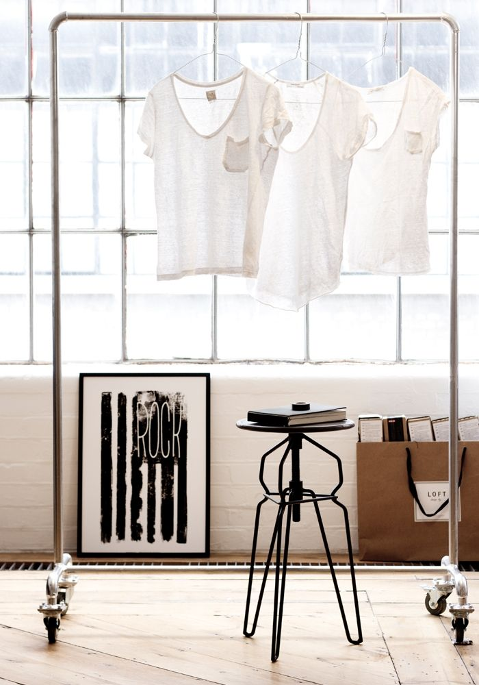 Industrial Clothes Rail Inspiration. Check out our garment rails at www.proportionlondon.com.