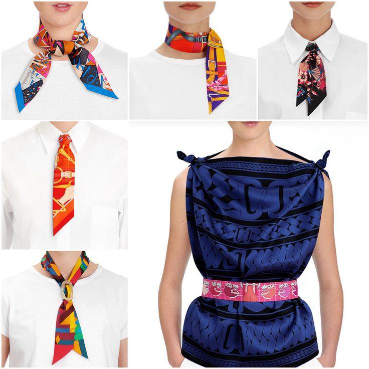 """Шёлковая лента Twilly Hermès """"Mors a Jouets"""", автор Henri d'Origny, синяя"""