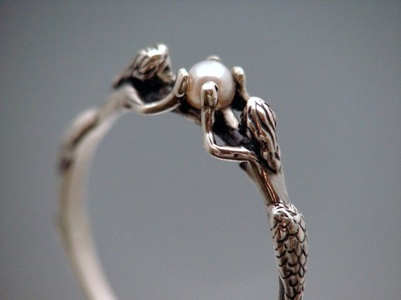 Mermaid Ring With Pearl by SheppardHillDesigns on Etsy, $42.00