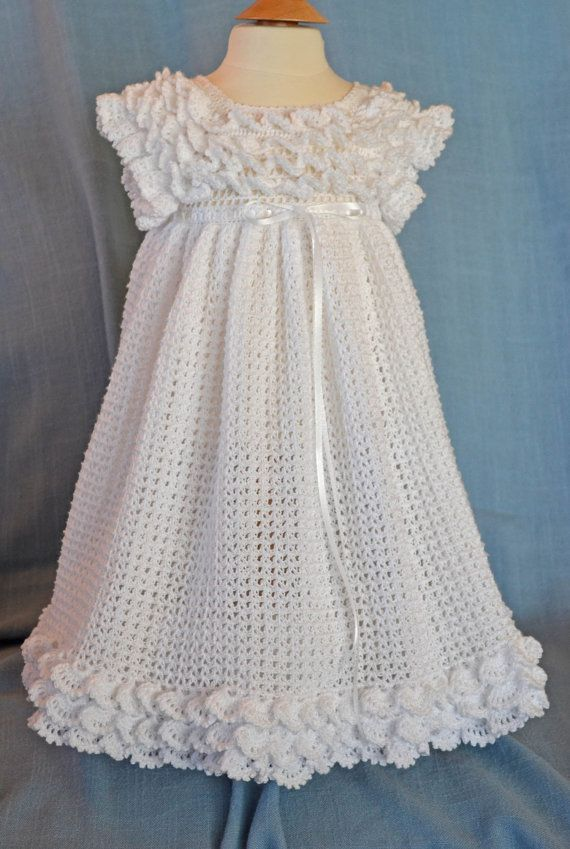 Hand Crafted Christening/Baptism/Blessing Gown from Cherry Hill Crochet. $80.00