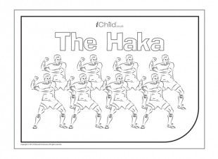 "The Haka is a traditional Maori warrior dance, now performed by the world-famous ""All Blacks"" rugby team. Children can colour in the picture and also have a go at learning the Haka moves!"