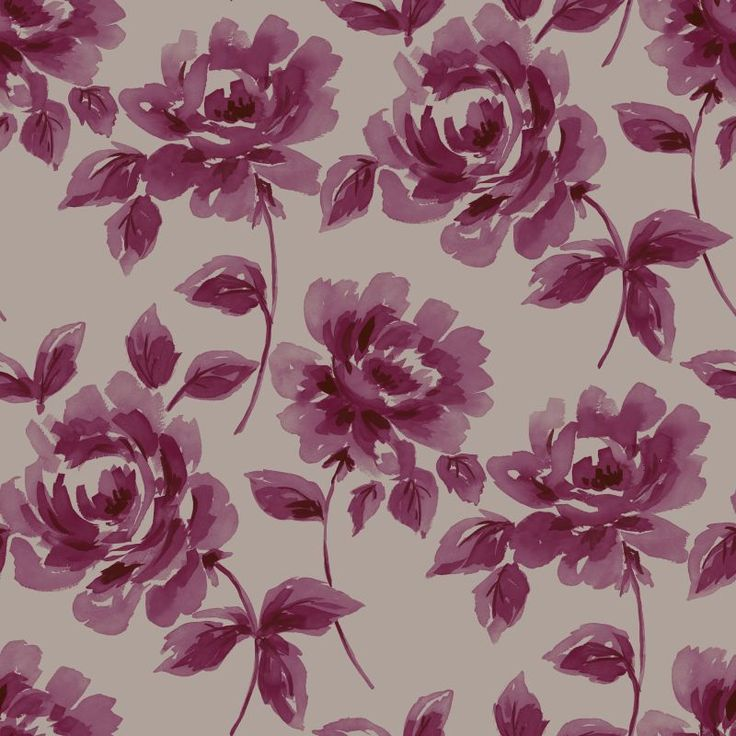 ESTAhome.nl - maak je huis gezellig! Non-Woven wallpaper watercolor painting roses aubergine & taupe behang, fotobehang, gordijnstof en dekbedovertrekken