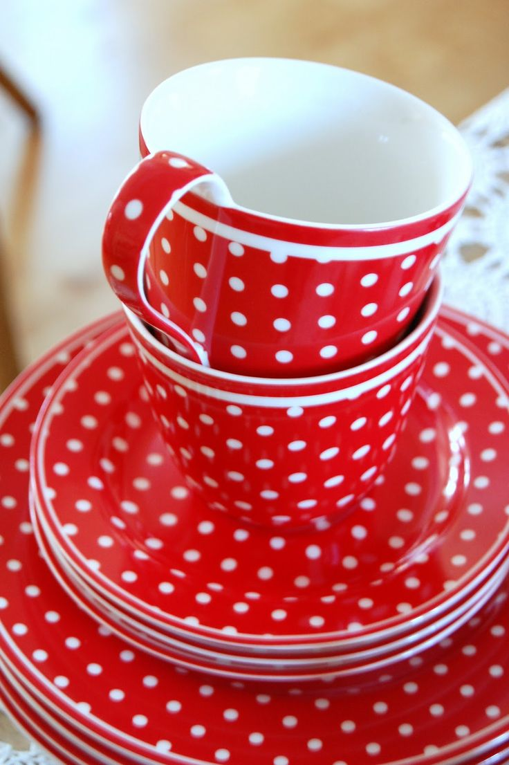 Polka Dots Country Cottage Teacups Saucers and