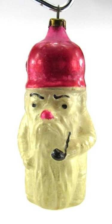 Santa with Pipe on   Antik Glas Christmas Ornaments /Face ...