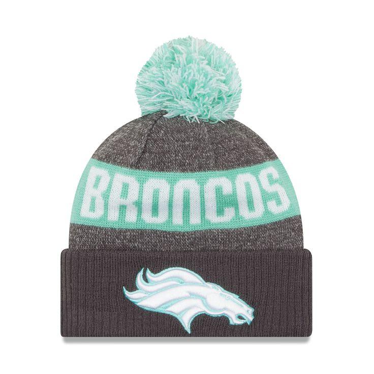 Men's Denver Broncos New Era Graphite/Clear Mint Sport Knit Hat