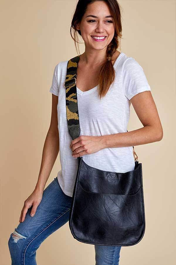 Social Threads Vegan Leather Black Crossbody Bag With Camo Strap Ruvegans Social Threads Vegan Tote Bag Fashion
