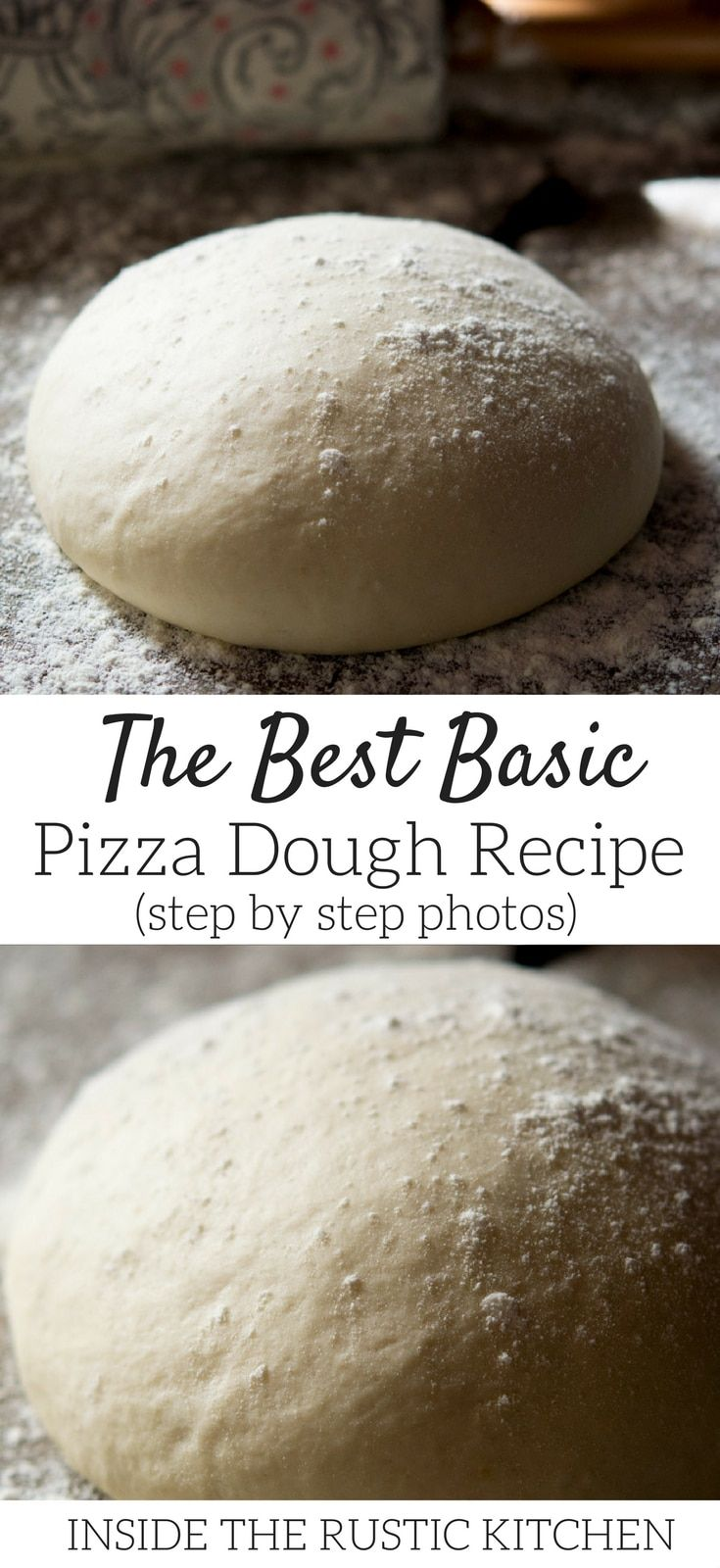 The best basic pizza dough recipe made with very few simple ingredients it's easy and totally foolproof! This is the best dough for making homemade pizzas. Find more authentic Italian recipes at Inside The Rustic Kitchen via @InsideTRK