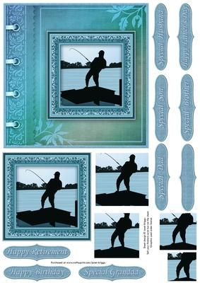 FISHING THE CATCH Quick Male Birthday Card on Craftsuprint designed by Janet Briggs - Square card topper with a vintage feel, featuring silhouette of fisherman / angler.Suitable for a variety of occasions, birthday, retirement, Father's Day etc.Pyramid layers for added depth.Several sentiment tags, including one blank. The others read,Happy BirthdayHappy Father's DayHappy RetirementSpecial Grandad, Dad, Brother, Son, Husband - Now available for download!