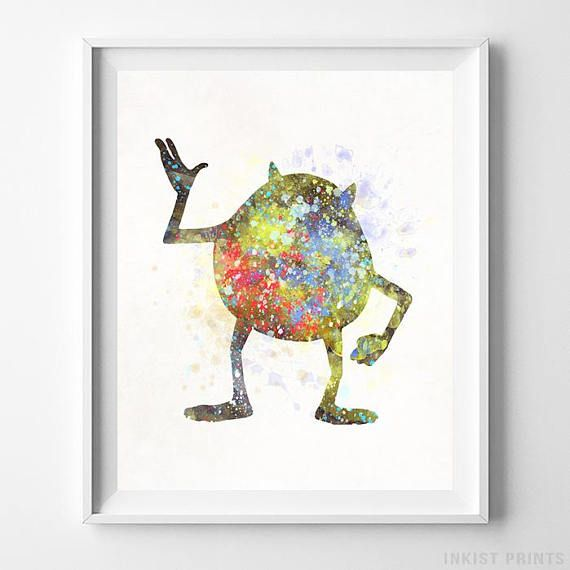 Monsters Inc Disney Watercolor Wall Art Poster - Prices from $9.95 - Click Photo for Details - #disney #watercolor #nursery #christmasgifts #disneywatercolor #MonstersInc