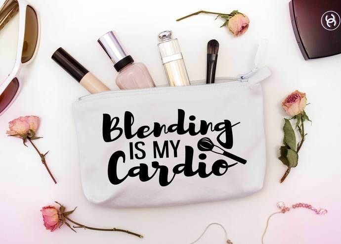 Blending is my cardio, Custom Makeup Pouch, one of a kind cosmetic bags, personalized birthday gifts by Pretty Party Favors, $8.50 USD