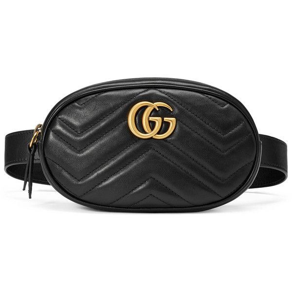 Gucci Gg Marmont Matelassé Leather Belt Bag ($1,050) ❤ liked on Polyvore featuring bags, black, genuine leather belt, leather belt, leather fanny pack, belt bag and zip top bag