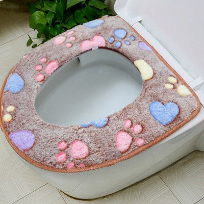 Thick Coral Velvet Luxury Toilet Seat Cover Set Soft Warm Zipper Two Piece  Toilet Case