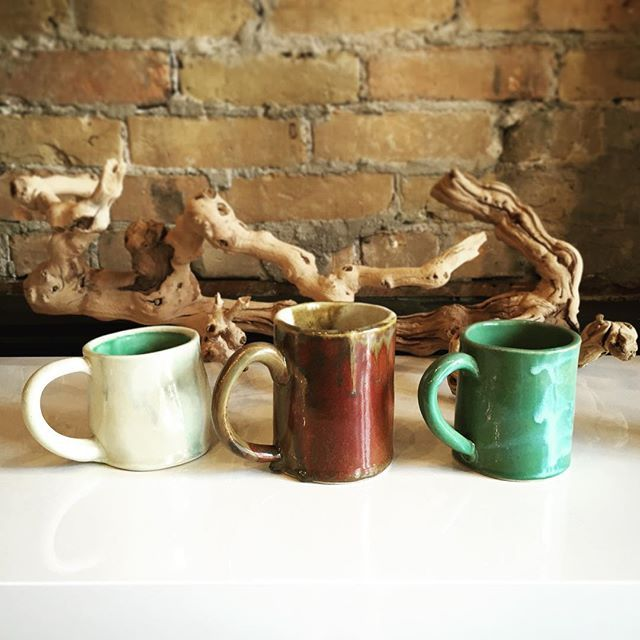 We have a collection of slab-style ceramic mugs from local artist @jessicasteerpottery. Find your perfect gift at Tharnzie! #madeinmanitoba #madeinwinnipeg #shoplocal #winnipeg #osbornevillage