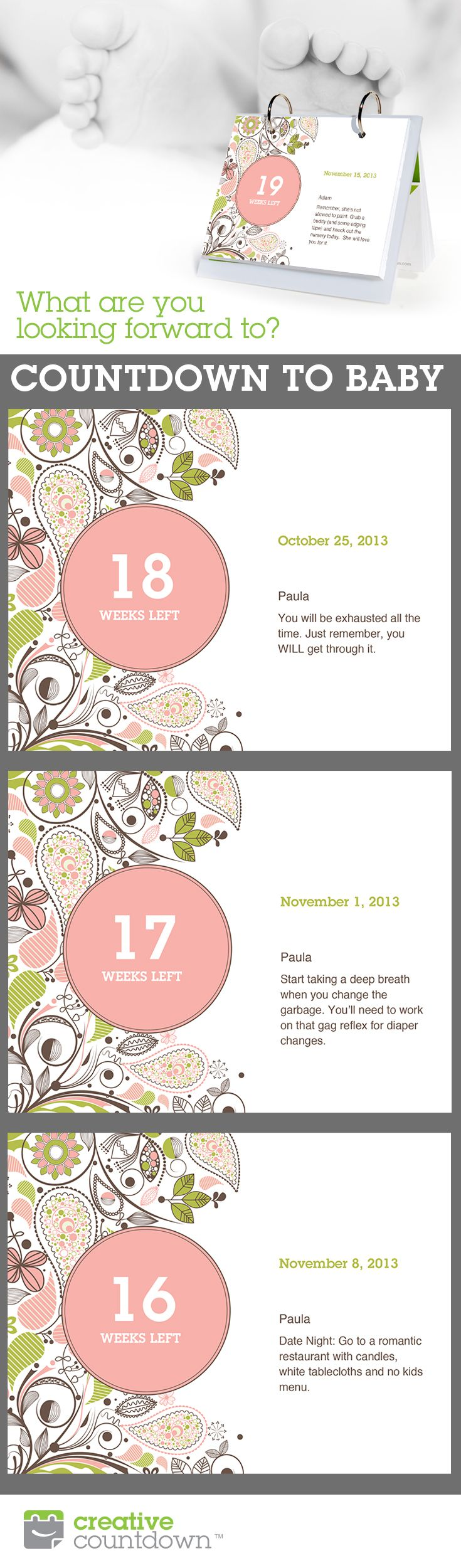 A customized Countdown to Baby makes a great shower gift. Many design styles to choose from and over 100 suggested quick-fill entries to make calendar building easy! Www.creativecountdown.com.