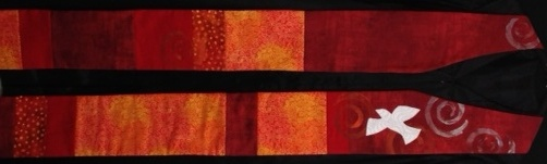 This bright red s and oranges on this stole tells remind us of the passion experienced at the beginning of the Church. The swirls in the print of the fabrics and hand painted highlight the winds and fire experienced on that day. The descending dove represents the Holy Spirit. http://mysite.verizon.net/vzeoro2y/id42.html $93.00