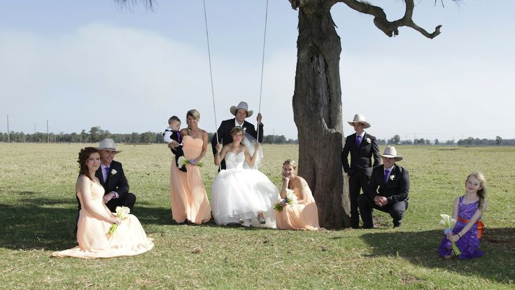 This is the ultimate country wedding bridal party shot...... and the swing for the bride, ah to die for perfect!