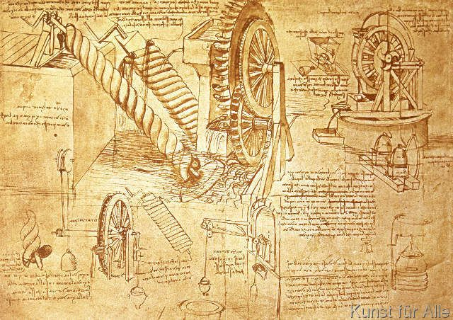 Leonardo da Vinci - Facsimile of Codex Atlanticus f.386r Archimedes Screws and Water Wheels (original copy in the Biblioteca Ambosiana, Milan, 1503/