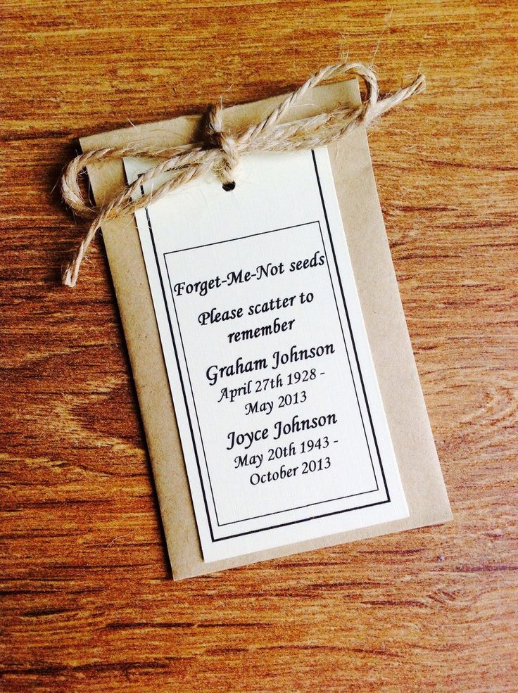 10 Personalised Forget Me Not Seed Funeral Memorial Remembrance Favour Gift