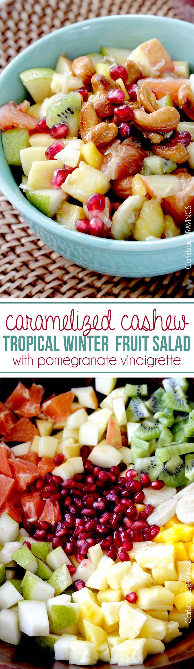 Sweet, refreshing, crunchy Tropical Winter Fruit Salad with Caramelized Cashews, and Pomegranate Vinaigrette sprinkled with toasted coconut bursting with tropical fruit.