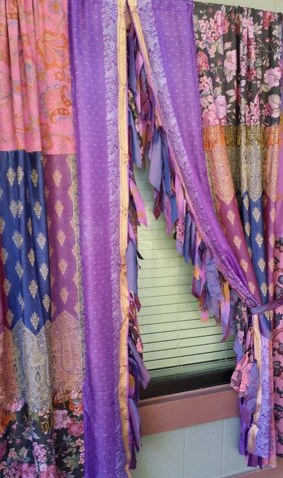 Gypsy HippieWild Boho Chic Hippie Hippy Floral Rose Blue Purple EMERALD Forest Silk Sari Pashmina Patchwork
