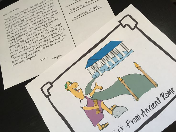 Ancient Rome research project! Students write a postcard explaining their adventure after traveling back in time to meet an ancient leader. Art, writing and research all rolled into one ready to print project.