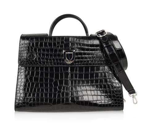 60b24f99296 Rare Christian Dior Diorever matte crocodile Black bag which converts to a  tote style.Architectural flap.