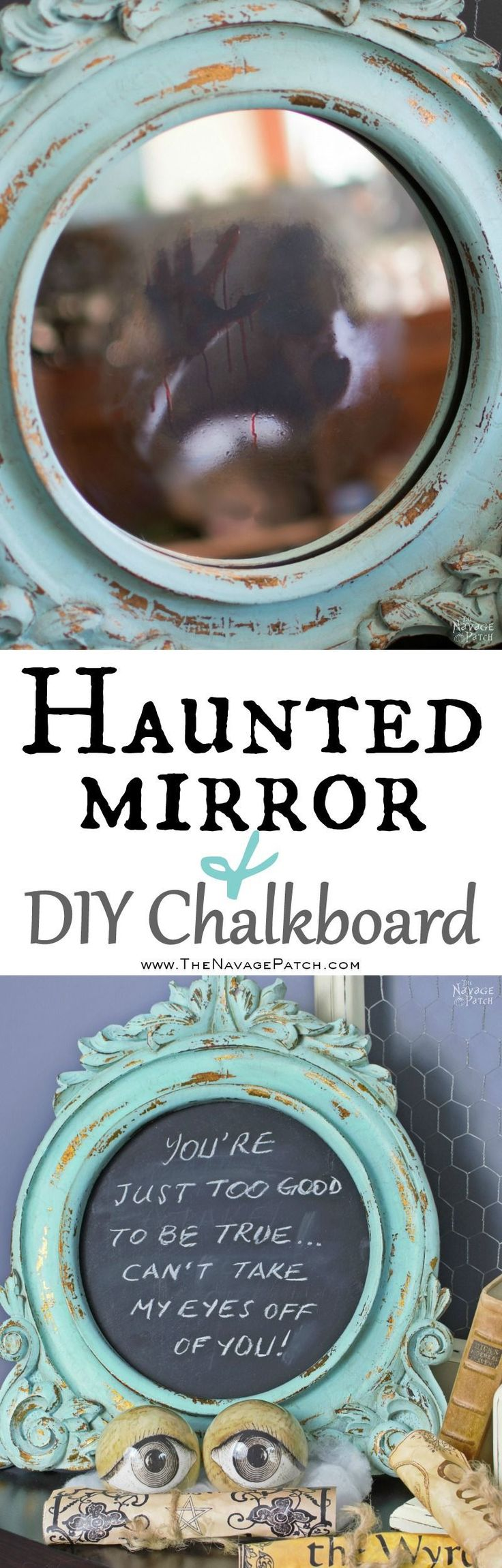 Halloween Haunted Mirror and DIY Chalkboard | DIY Halloween decor | How to make a make a haunted mirror | Homemade chalk paint recipe | Homemade chalk paint recipe | Picture frame makeover using diy chalk paint | Transformed and upcycled picture frame | Free paint color code | Before & After | Easy & budget crafts | DIY Halloween prop | Spooky and gothic decor | Upcycled Halloween decor | TheNavagePatch.com