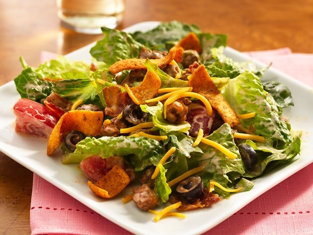 Southwestern BLT Taco Salad- corn chips in salad, sure!