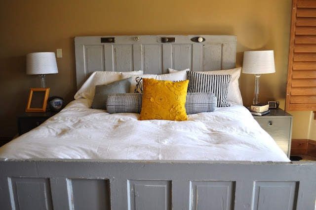 gray and mustard yellow bedroom