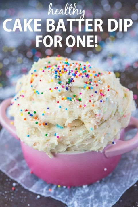 Healthy Cake Batter dip for ONE recipe- Delicious, creamy and packing over 20 grams of protein, it only takes 5 minutes to whip up! Sinfully nutritious! {vegan, gluten free, sugar free   paleo options} - thebigmansworld.com