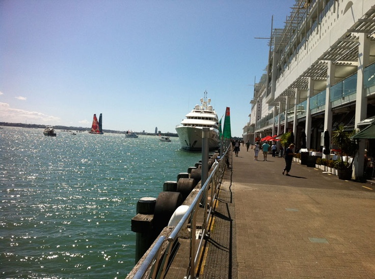 Princes Wharf, Auckland with Volvo Ocean Race yachts in background