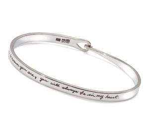 """No Goodbyes"" Ghandi Quote on Remembrance Bangle Bracelet 