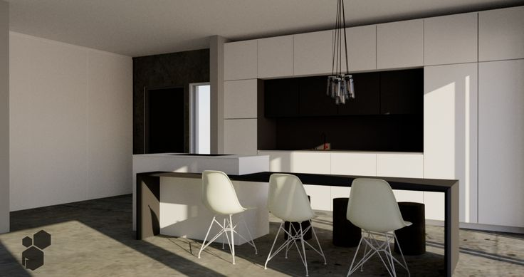 Talo 105 | Keittiösuunnitelma | Betonilattia | Mattavalkoista ja mustaa